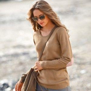 Blancheporte Jednobarevný pulovr s kulatým výstřihem hnědošedá/pudrová růžová 54