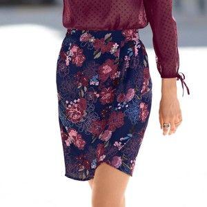 Blancheporte Pouzdrová sukně s potiskem temně modrá/bordó 46