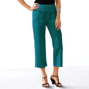 Blancheporte 7/8 kalhoty len/bavlna sada smaragdová 38
