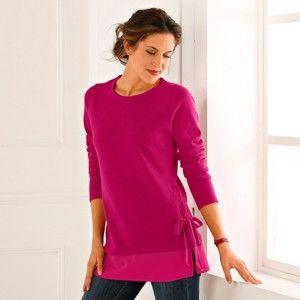 Blancheporte Jednobarevný pulovr ze dvou materiálů třešňová 54