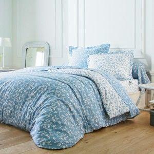 Blancheporte Povlečení Lístky, bavlna nebeská modrá/bílá napínací prostěradlo 90x190cm