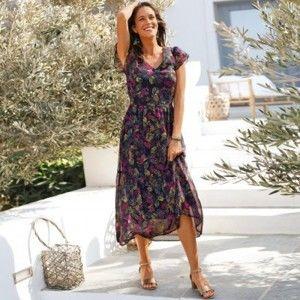Blancheporte Dlouhé šaty s potiskem bronzová/purpurová 36