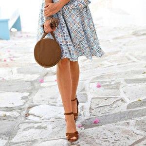 Blancheporte Rozšířená sukně s potiskem tyrkysová 48