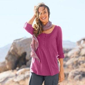 Blancheporte Jednobarevné tričko s dlouhými rukávy purpurová 46/48