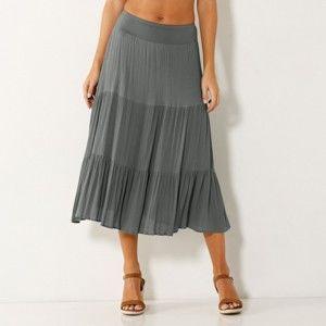 Blancheporte Polodlouhá sukně s volány, jednobarevná bronzová 34/36