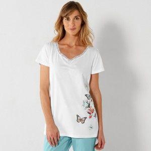 Blancheporte Pyžamové tričko s krátkými rukávy a středovým potiskem bílá 46/48
