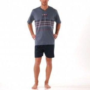 Blancheporte Pyžamo se šortkami, jemná bavlna modrošedá/nám.modrá 137/146 (4XL)