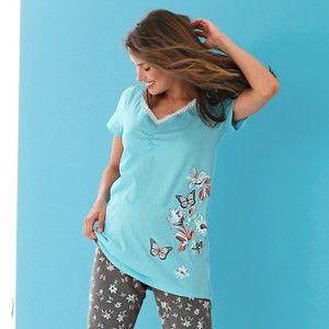 Blancheporte Pyžamové tričko s krátkými rukávy a středovým potiskem bledě modrá 46/48