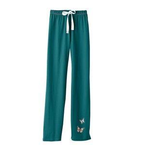 Blancheporte Pyžamové kalhoty se středovým potiskem, bavlna smaragdová 46/48