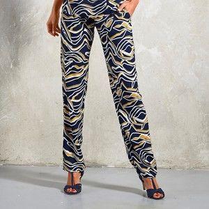 Blancheporte Vzdušné kalhoty, grafický design temně modrá/medová 44