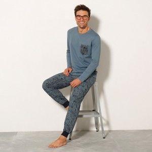 Blancheporte Pyžamo s tropickým potiskem nám.modrá/modrá 107/116 (XL)