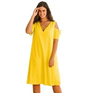 Blancheporte Šaty s průstřihy v ramenou žlutá 46