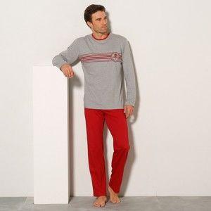 Blancheporte Pyžamo s kalhotami, bavlněný žerzej červená/šedý melír 107/116 (XL)
