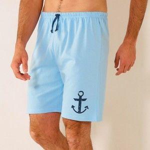 """Blancheporte Bleděmodré pyžamové šortky, potisk """"kotva"""" nebeská modrá 64/66"""