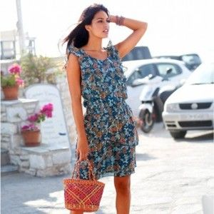 Blancheporte Volánové šaty s potiskem modrá/korálová 44
