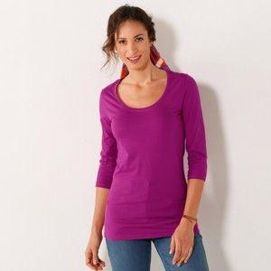 Blancheporte Jednobarevné tričko s 3/4 rukávy indická růžová 38/40