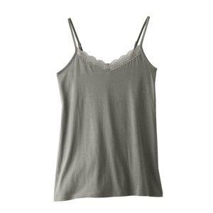 Blancheporte Jednobarevné pyžamo se šortkami, bavlna a modal khaki 46/48