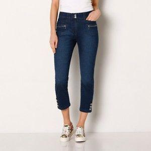 Blancheporte Džínové 3/4 kalhoty s knoflíky na koncích nohavic modrá 46
