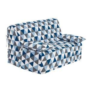 Blancheporte Potah na rozkládací pohovku s potiskem, plátno bachette modrá/šedá 140x190cm