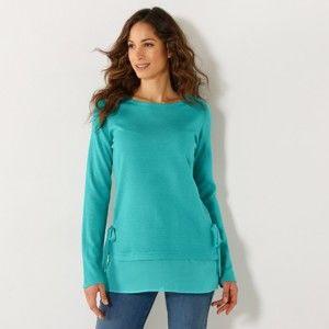 Blancheporte Jednobarevný pulovr ze dvou materiálů mátová 52