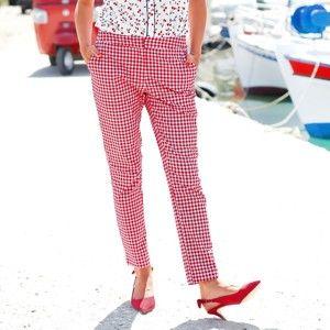 Blancheporte 7/8 úzké kalhoty červená/bílá 44