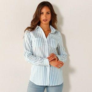 Blancheporte Košile s proužky proužky bílá/modrá 56
