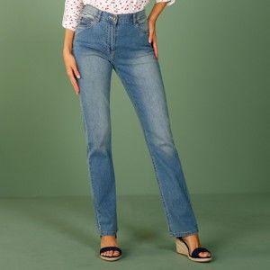 Blancheporte Rovné džíny s push-up efektem, pro nižší postavu sepraná modrá 38