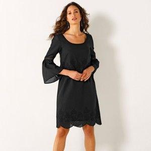 Blancheporte Šaty s anglickou výšivkou černá 54
