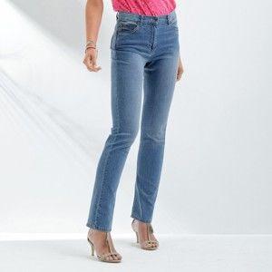 Blancheporte Rovné džíny s push-up efektem, pro vyšší postavu sepraná modrá 44