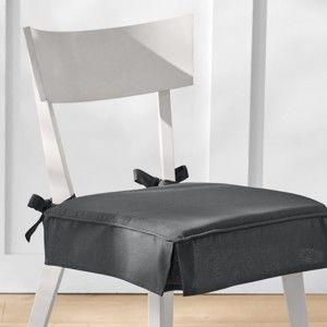 Blancheporte Sedáky na židle, s volánky, sada 2 ks šedá antracitová 40x40cm