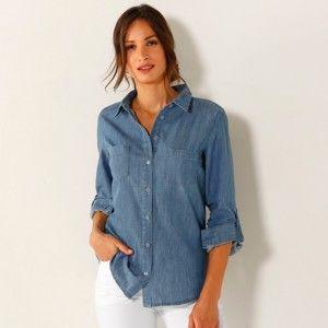 Blancheporte Džínová košile s dlouhými rukávy denim sepraná modrá 40
