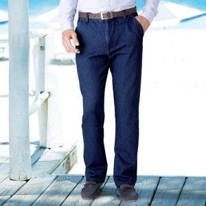 Blancheporte Džínové kalhoty bez záševků tm. modrá 44