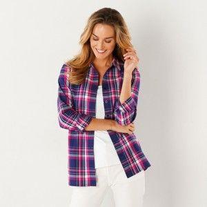 Blancheporte Kostkovaná košile indigo/fuchsia 38
