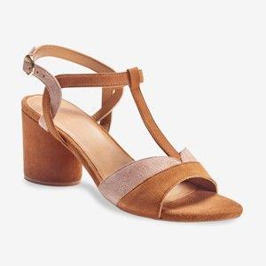 Blancheporte Dvoubarevné kožené sandály na podpatku béžová/růžová 38