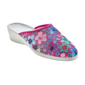 Blancheporte Domácí pantofle s potiskem kytiček růžová 41