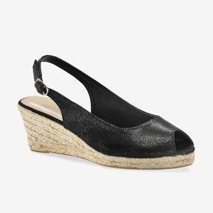 Blancheporte Třpytivé sandály na klínku černá 38