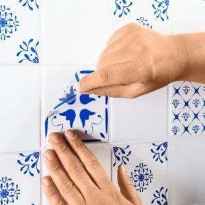 Blancheporte Dekorace obkladů, motiv dlaždice, sada 24 ks modrá 10x10cm