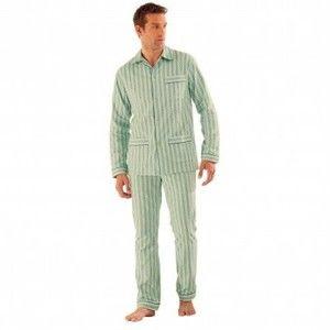 Blancheporte Klasické pyžamo, popelín zelená 117/126 (XXL)