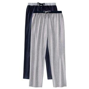 Blancheporte Domácí kalhoty, sada 2 ks nám.modrá+šedý melír 56/58