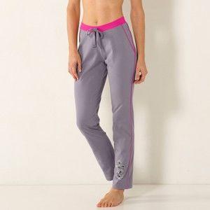 Blancheporte Pyžamové kalhoty se středovým potiskem, bavlna šedá 52