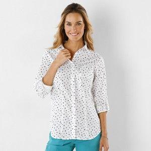 Blancheporte Košile s potiskem puntíků bílá 38