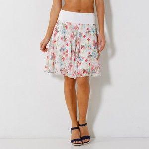 Blancheporte Rozšířená sukně s potiskem květin bílá/růžová 36