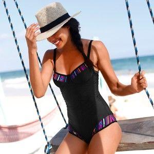 Blancheporte Jednodílné zeštíhlující plavky, s kosticemi černá/potisk, koš.C 40