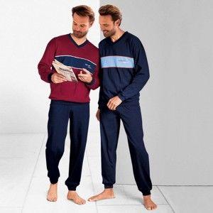 Blancheporte Pyžamo s dlouhými kalhotami, sada 2 ks nám.modrá+bordó 117/126 (XXL)