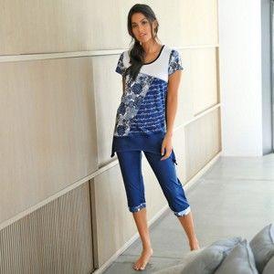 Blancheporte Pyžamo se 3/4 kalhotami modrá 42/44