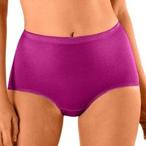 Blancheporte Kalhotky z pružné bavlny, super maxi, sada 3 ks černý rybíz+lila+malina 54/56