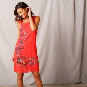 Blancheporte Voálové šaty s potiskem korálová 40