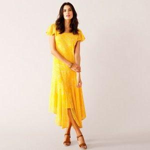 Blancheporte Asymetrické šaty s krátkými rukávy šafránová 48