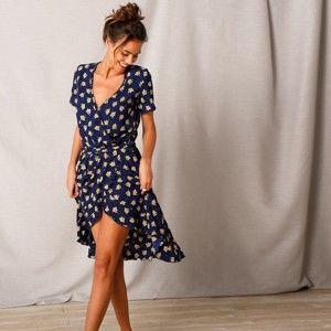 Blancheporte Šaty s překřížením a potiskem květin nám.modrá/žlutá 36