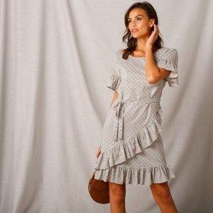 Blancheporte Volánové šaty s potiskem béžová/černá 40